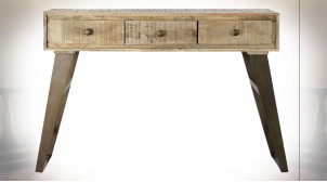 Console en bois de manguier finition naturelle et pieds en métal ambiance atelier rétro, 130cm