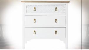 Commode en bois de sapin finition blanche et naturelle ambiance orientale, 80cm