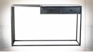 Console de style moderne en métal ajouré noir et marbre, 130cm