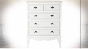 Commode 5 tiroirs en bois finition blanche de style romantique, 105cm