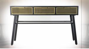 Console 3 tiroirs ajourés en métal finition noire et dorée ambiance atelier, 130cm