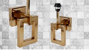 Base d'applique en métal chromé doré, ambiance moderne luxueuse avec formes géométriques, 30cm