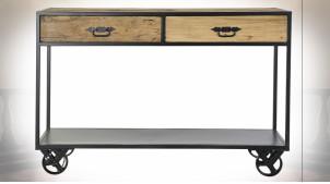 Console en métal et bois recyclé finition naturelle vieillie ambiance industrielle, 120cm