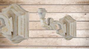 Applique en bois en forme de bras sculpté, finition blanchie naturelle effet usé, 22cm