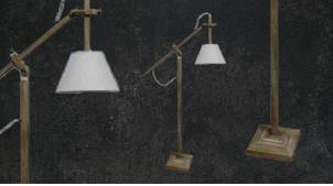 Lampadaire en bois avec bras amovible, ambiance chalet moderne finition naturelle et abat jour blanc, 171cm