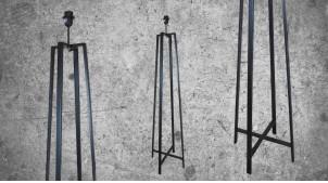 Pied de lampadaire en métal finition charbon brillant, esprit tripode ambiance moderne, 135cm