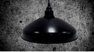 Grande suspension lumineuse de Ø70cm, en métal finition charbon effet ancien, 100cm de chaine
