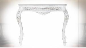 Console en bois de manguier finition blanc, pieds galbés de style classique, 106cm