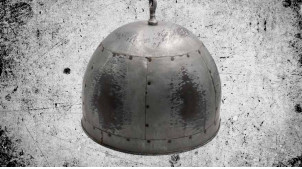 Suspension lumineuse en métal effet vieux zinc, rivets et soudures visibles, forme de cloche, ambiance vieille ferme, Ø42cm