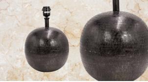 Pied de lampe en forme de boule de Ø26cm, en métal finition noir charbon effet ancien, ambiance chic classique