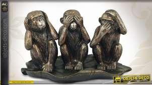 Statuette animalière représentant 3 singes facétieux