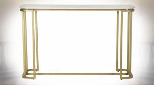 Console de style moderne en métal doré et plateau en marbre, 120cm