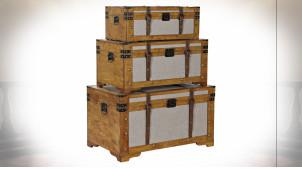 Série de 3 malles de rangement en bois et tissu gris ambiance rétro, 81cm