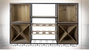 Étagère murale style meuble cave en bois et métal ambiance industrielle, 105cm