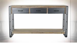 Console en métal et bois de sapin finition naturelle ambiance atelier, 140cm