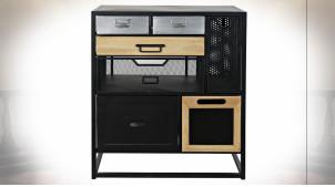 Petit meuble d'appoint en métal et bois de style industriel, 66cm