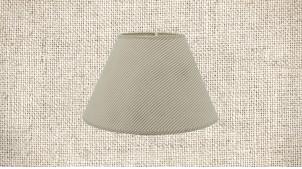 Abat-jour de Ø35cm en coton, forme conique avec motifs de rayures grises sur fond beige écru