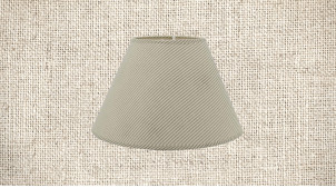 Abat-jour de Ø45cm en coton, forme conique avec motifs de rayures grises sur fond beige écru