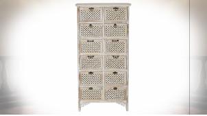 Meuble d'appoint en bois de sapin finition naturelle blanchie ambiance shabby chic, 130cm