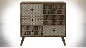 Commode en bois à 3 tiroirs, motifs géométriques de style ethnique, 80cm