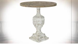 Table d'appoint en bois de sapin finition naturelle et blanche, pied en forme d'amphore de style classique, Ø76cm