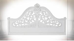 Tête de lit de style classique en bois de manguier sculpté finition blanche, 164cm