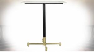 Table d'appoint carrée en marbre blanc et fer de style moderne, 70cm