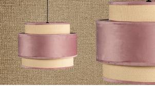 Suspension gigogne de Ø40cm à trois niveaux, finition velours rose poudré, 35cm