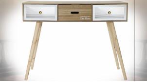 Bureau de style moderne en bois finition naturelle et blanche, 100cm
