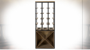 Meuble cave en métal et bois finition naturelle ambiance atelier rétro, 102cm