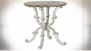 Table d'appoint de style classique en bois de sapin finition naturelle blanchie, Ø80cm