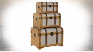 Série de 3 malles de rangement en bois et tissu gris ambiance rétro, 61cm