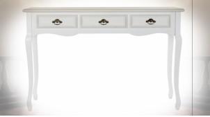 Console 3 tiroirs en bois finition blanche, pieds galbés de style romantique, 120cm