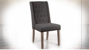 Chaise de style classique avec assise en lin finition grise et dossier capitonné, 102cm
