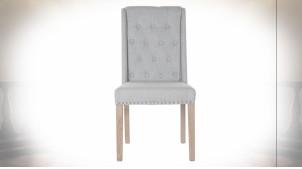 Chaise en bois et lin capitonné finition grise, clous de tapissier de style classique, 102cm