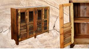 Buffet en bois massif à 4 portes, ambiance vieux volets à persienne finition usée, 117cm