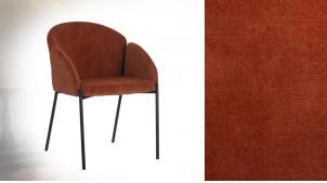 Chaise en métal finition charbon et velours rouge andrinople, ambiance rétro, modèle Bartholomé