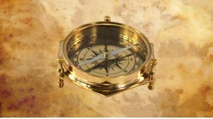 Reproduction d'une boussole en laiton finition dorée et verre, Ø8cm