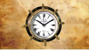 Hublot gouvernail de bateau en laiton habillé d'une horloge centrale Ø23cm