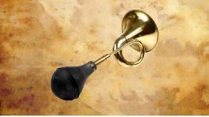 Klaxon rétro en laiton doré et poire en caoutchouc noir ancien, 40cm