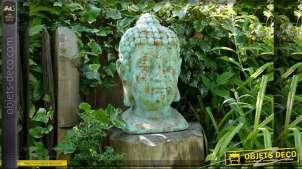 Statuette décorative tête de bouddha finition bleu antique