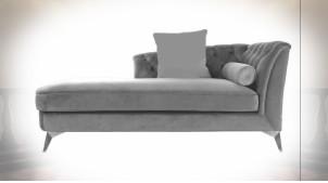 Méridienne avec dossier capitonné en velours finition grise ambiance classique, 188cm