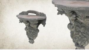 Etagère console en bois sculpté finition pierre ancienne, petit modèle 19cm