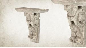 Etagère console murale en bois sculpté finition blanc antique décapé, 22cm