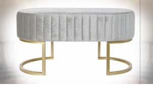 Bout de lit en métal doré, assise en velours finition gris perle ambiance rétro, 90cm