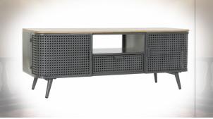 Meuble TV en bois et métal finition gris ardoise ambiance atelier moderne, 118cm