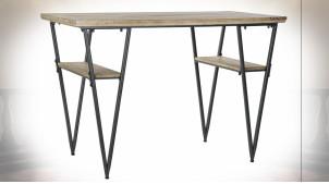 Bureau en métal noir et bois de sapin finition naturelle ambiance indus moderne, 120cm