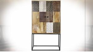 Buffet 2 portes en bois de manguier finition naturelle ambiance orientale, 151cm