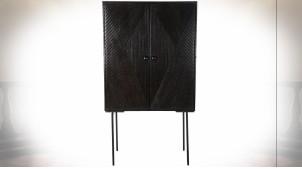 Buffet 2 portes en bois de manguier finition noir réglisse de style rétro, 151cm