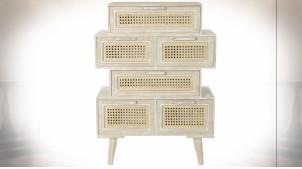 Meuble d'appoint à 6 tiroirs en bois et cannage d'osier finition naturelle blanchie ambiance shabby, 84cm